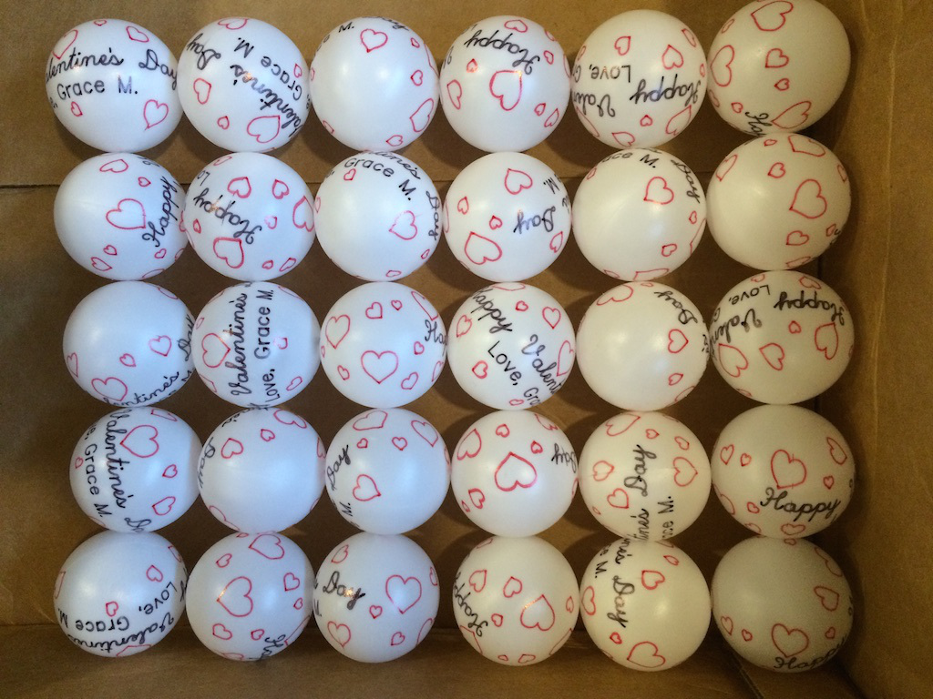 30 valentine ping pong balls