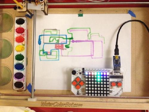 Meggy Jr RGB controlling WaterColorBot