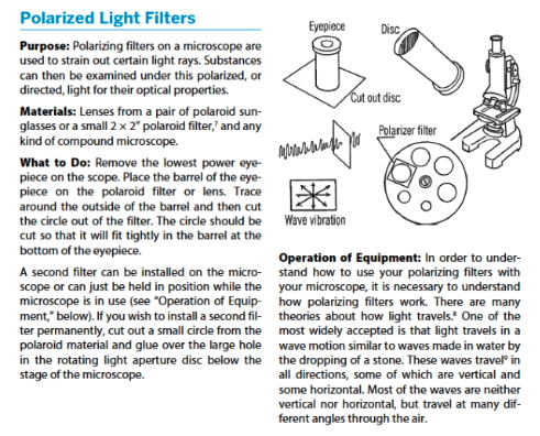 Book excerpt on Polarized Light Filters