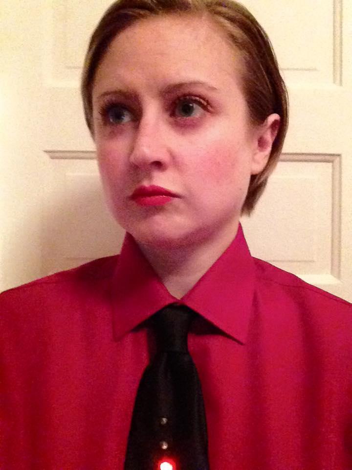 Woman dressed as Kraftwerk band member