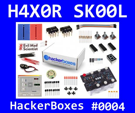 H4X0R SK00L picture of kit contents for HackerBoxes #0004