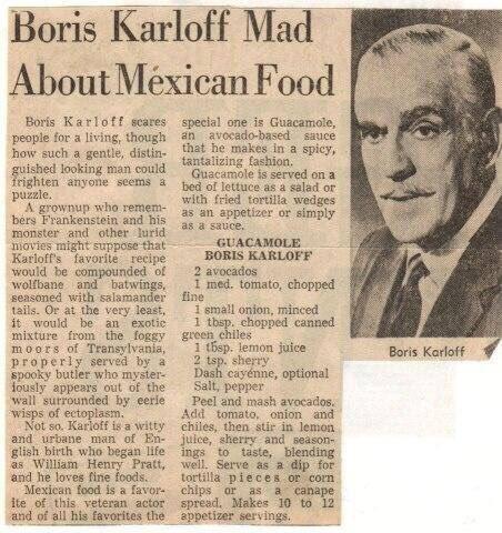 Boris Karloff's Guacamole Recipe