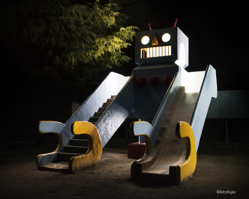 Robot shaped playground slide