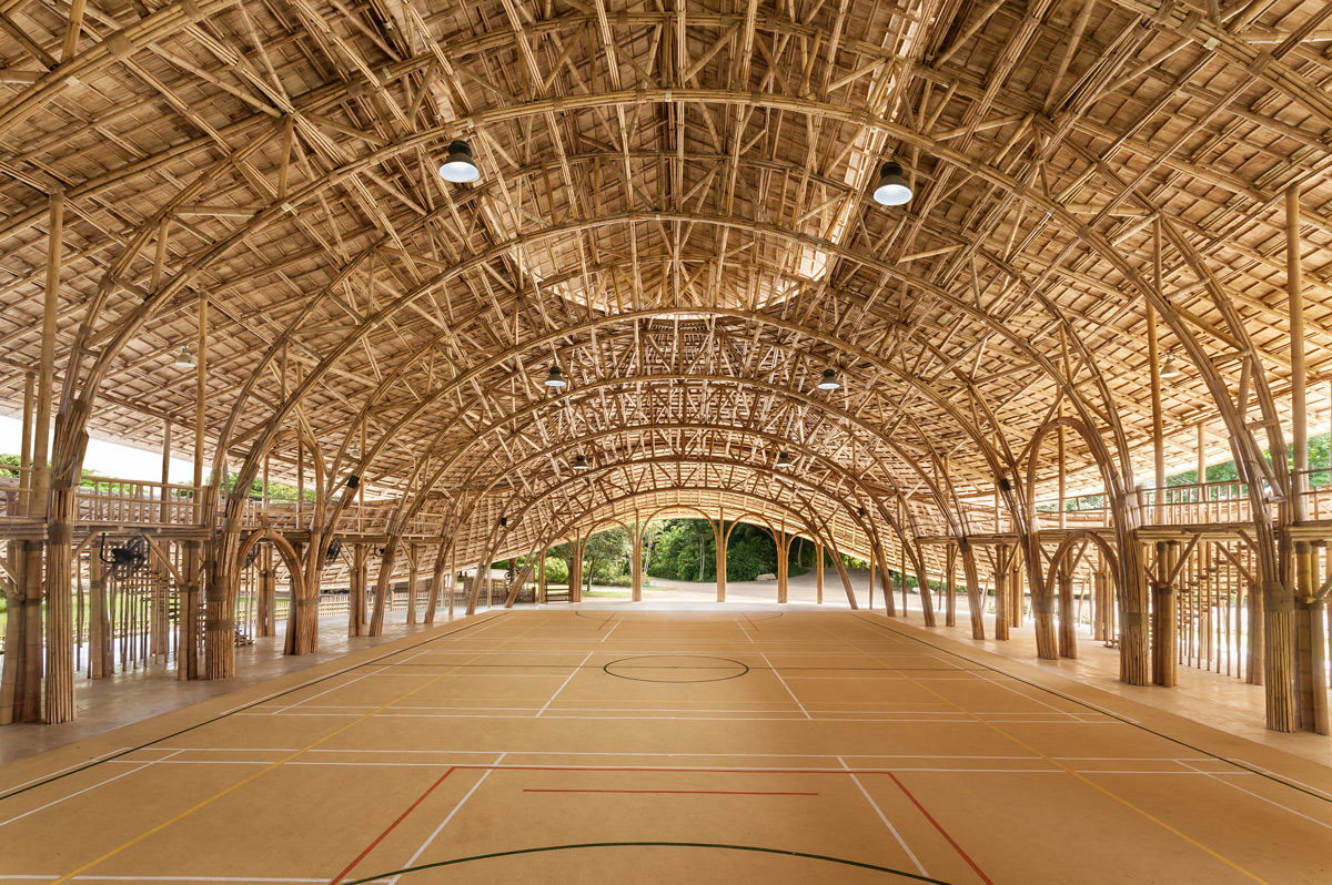Interior of bamboo gym inspired by lotus plant