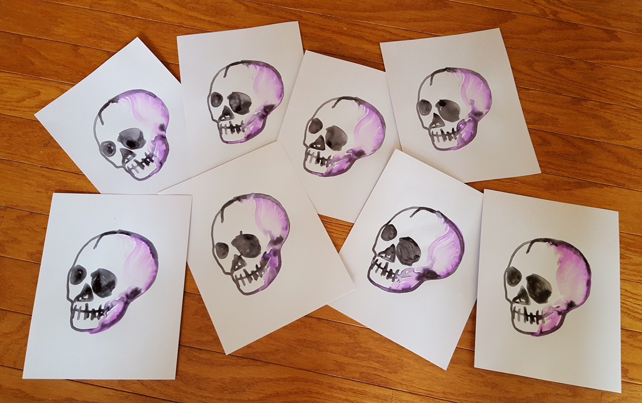 Paintings of skulls made by WaterColorBot