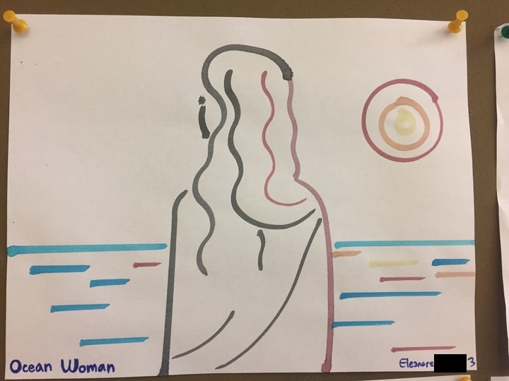 Water color painting titled Ocean Woman