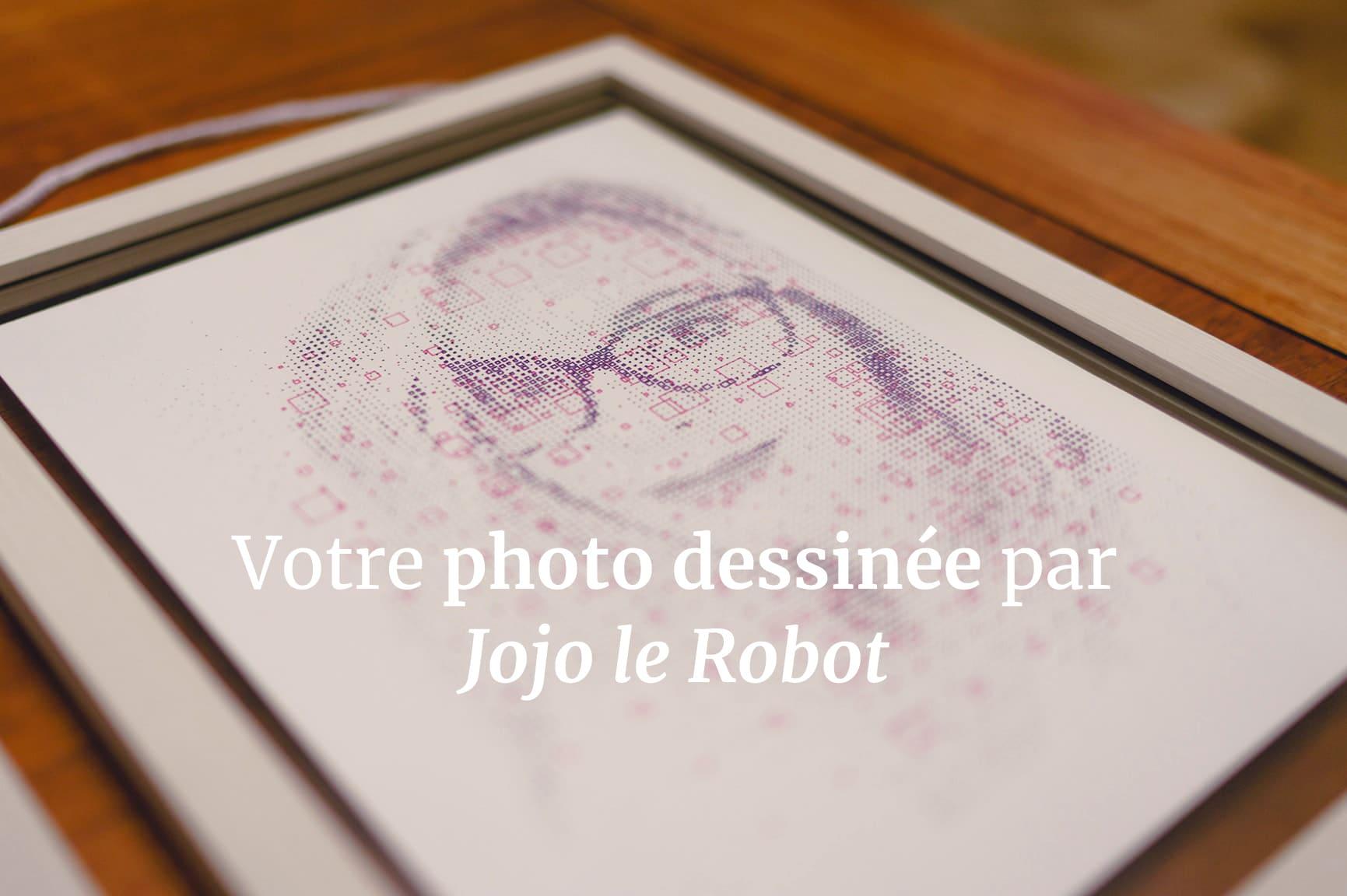 Plotter art portrait drawn by Jojo the robot