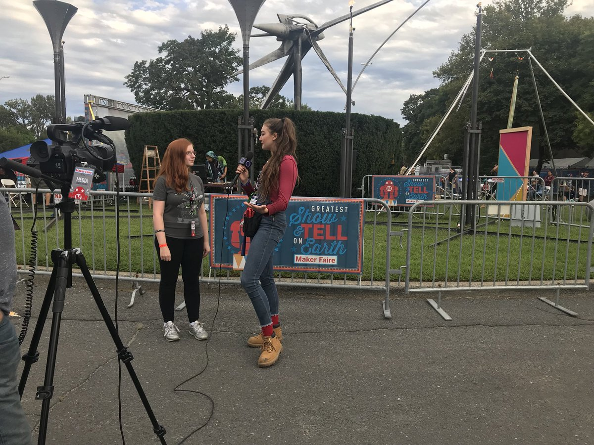 Julie interviewing Rachel at Maker Faire NY