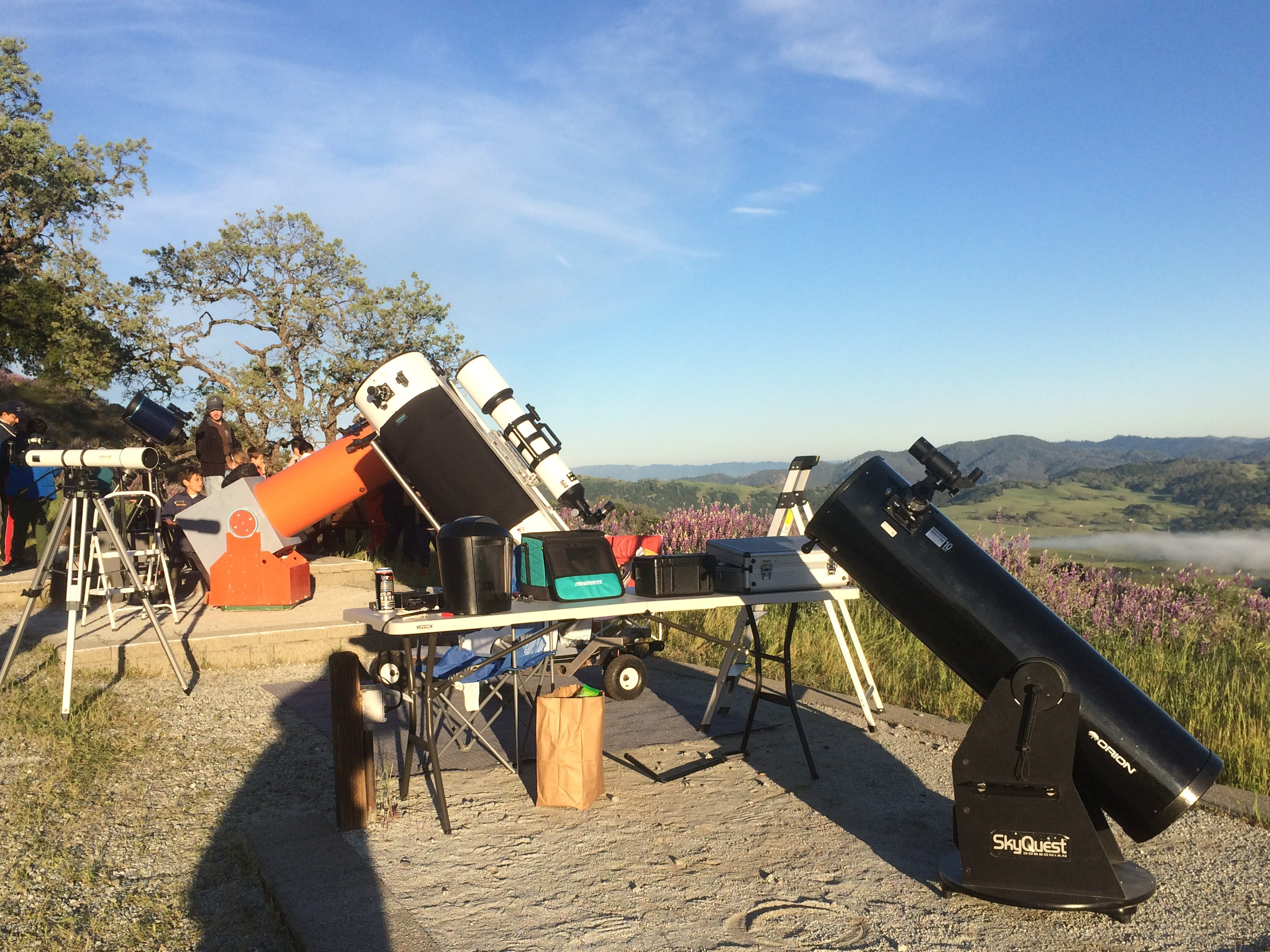 telescopes set up on pads