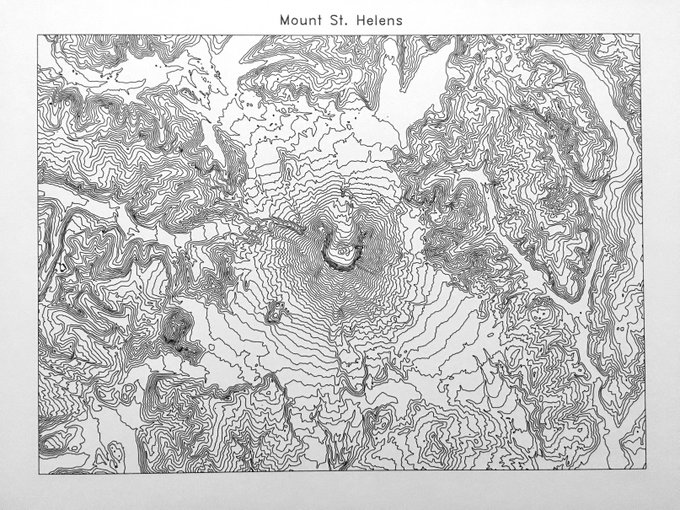 Topographic map of Mount St. Helens