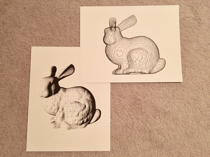 Drawings of the Stanford bunny