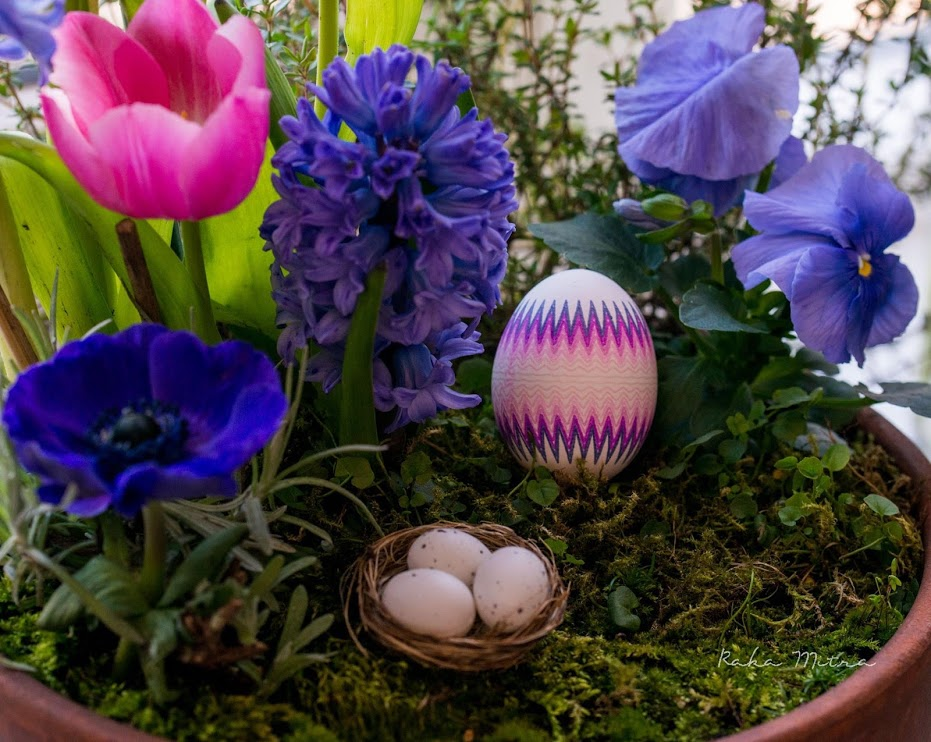 Egg with flowers