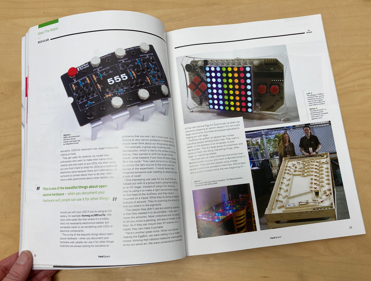 Picture of hackspace magazine pages showing Evil Mad Scientist Projects