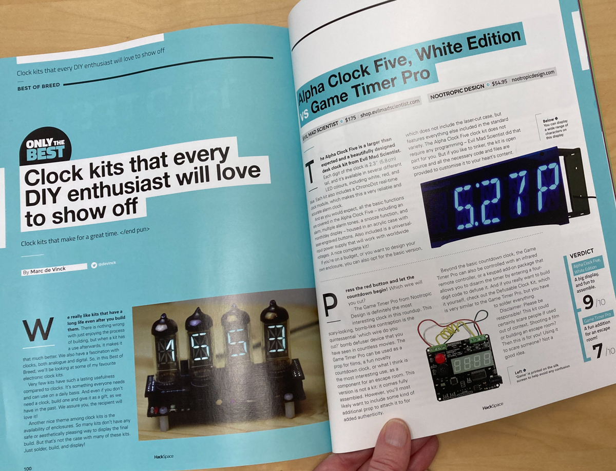 Hackspace magazine pages showing clock kit reviews
