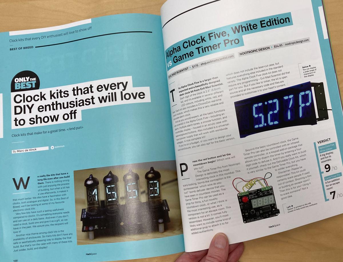 Hackspace magazine pages showing clock kit reviews