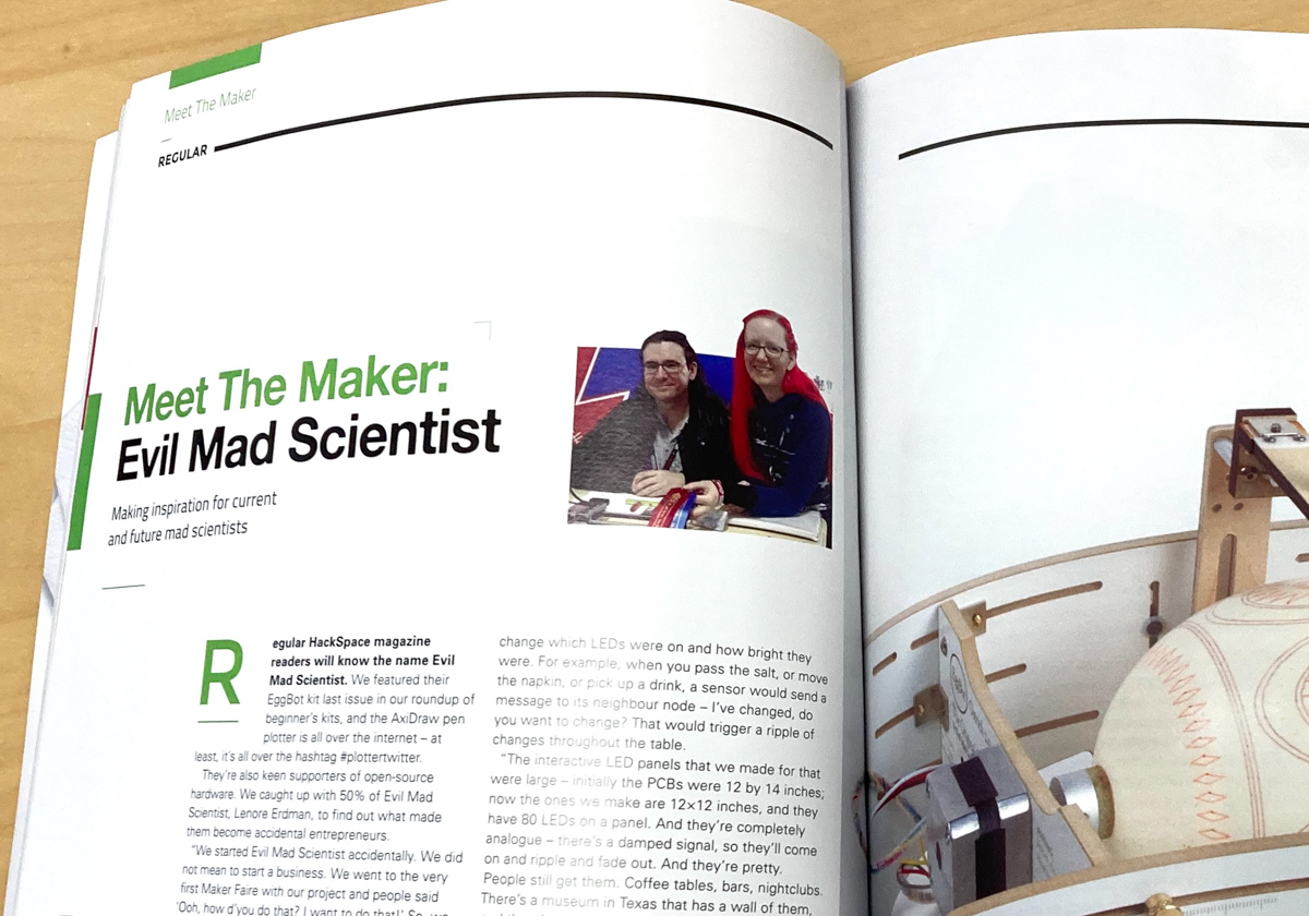 Hackspace magazine article pages with title