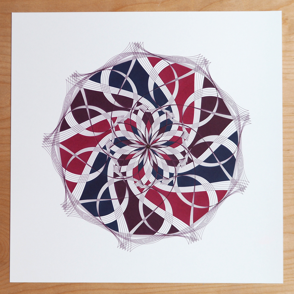 deep red and blue design with white space ribbons
