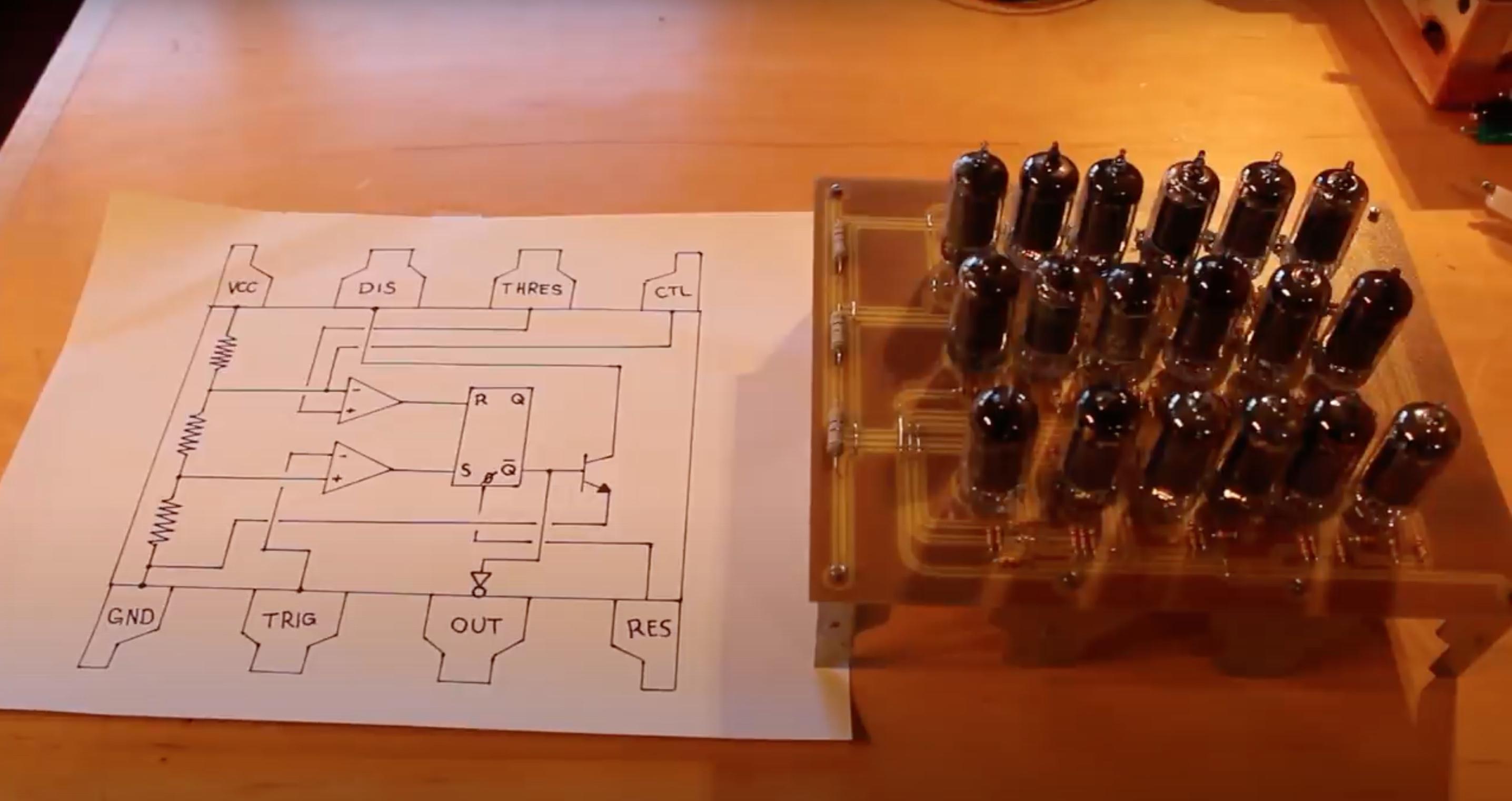 555 diagram next to 555 built of tubes