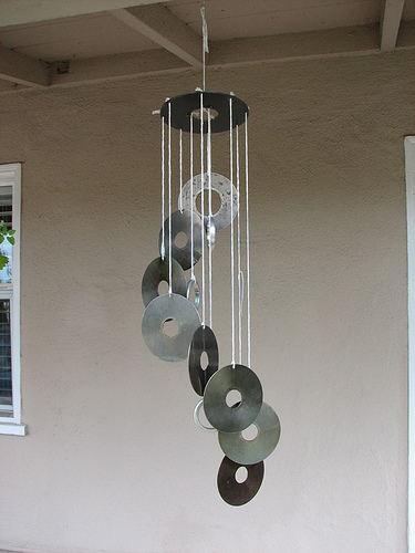 How to make hard drive wind chimes evil mad scientist for Wind chimes from recycled materials